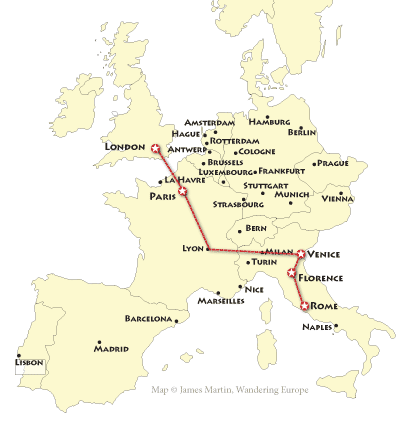 map of the grand tour of europe